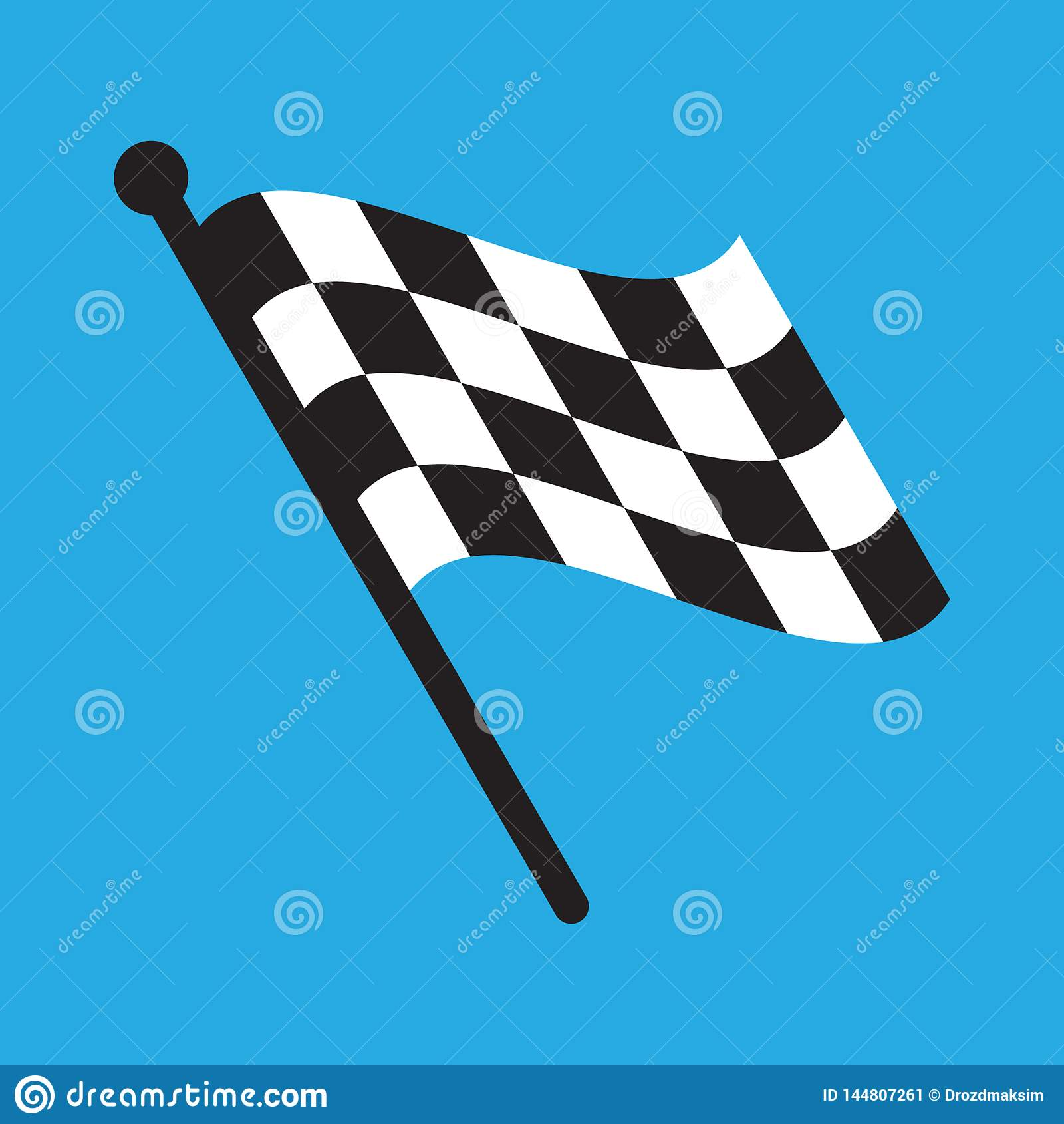 Rutig t?vlings- flagga som isoleras p? bl?tt