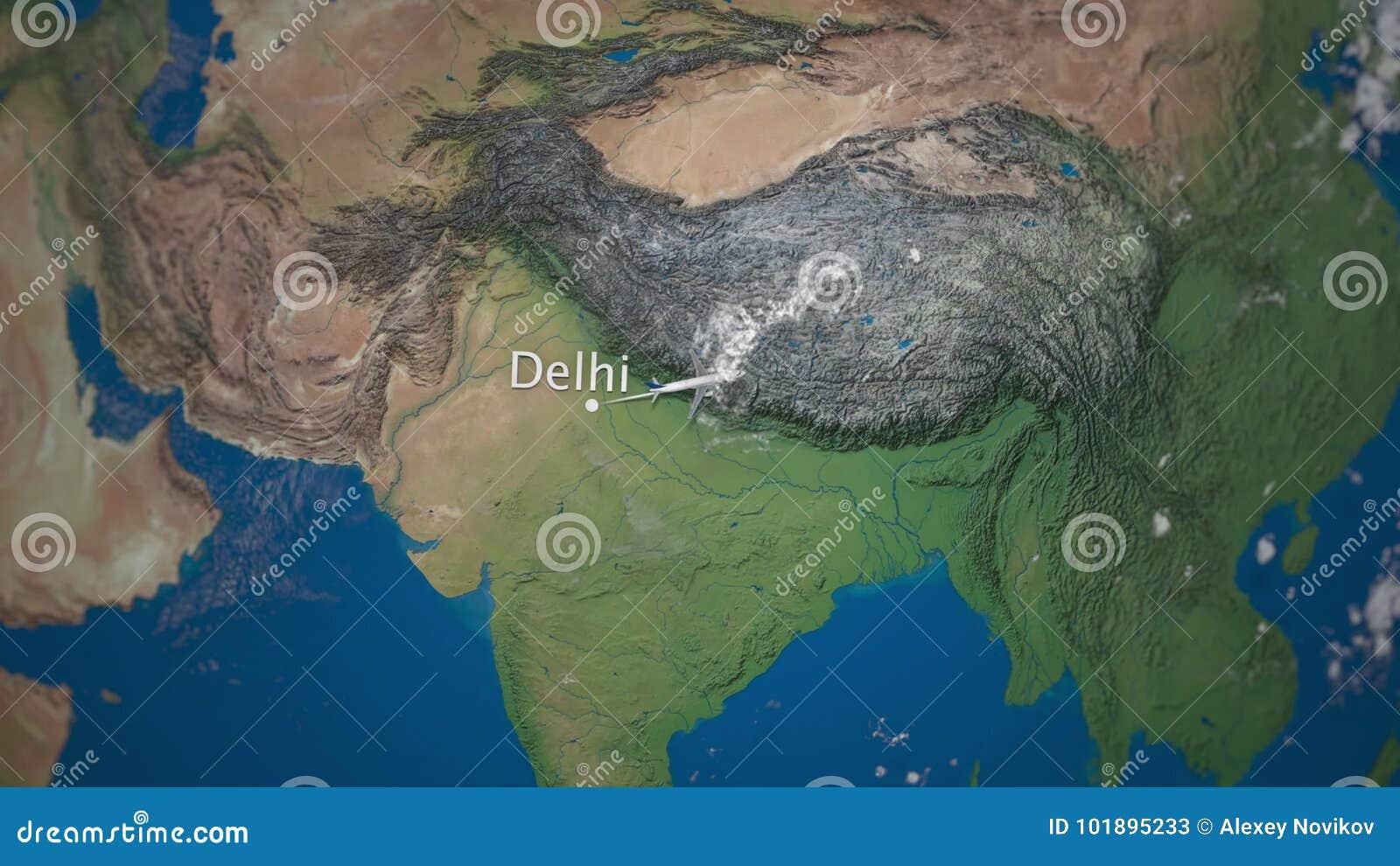 Rutt av det kommersiella flygplanflyget från Delhi till Tokyo på jordjordklotet Internationell turintroanimering