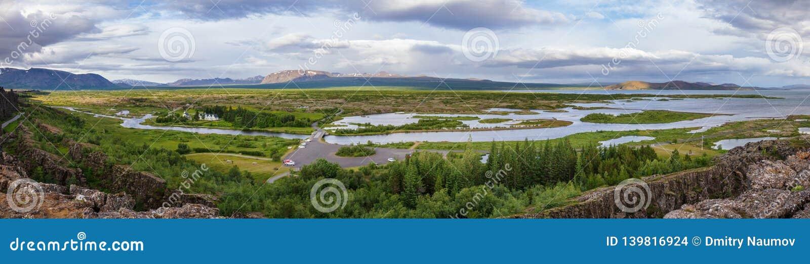 Rutt Island Skandinavien för guld- cirkel för Thingvellir nationalparkpanorama turist-