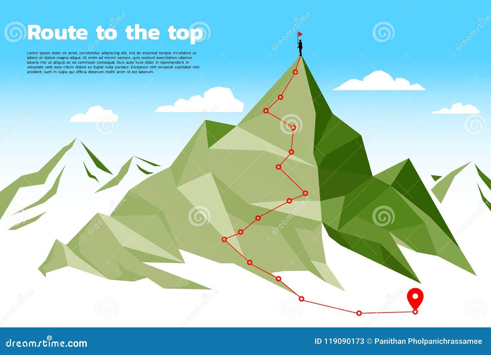 Rutt till överkanten av berget: Begreppet av målet, beskickningen, vision, karriärbanan, polygonprick förbinder linjen stil