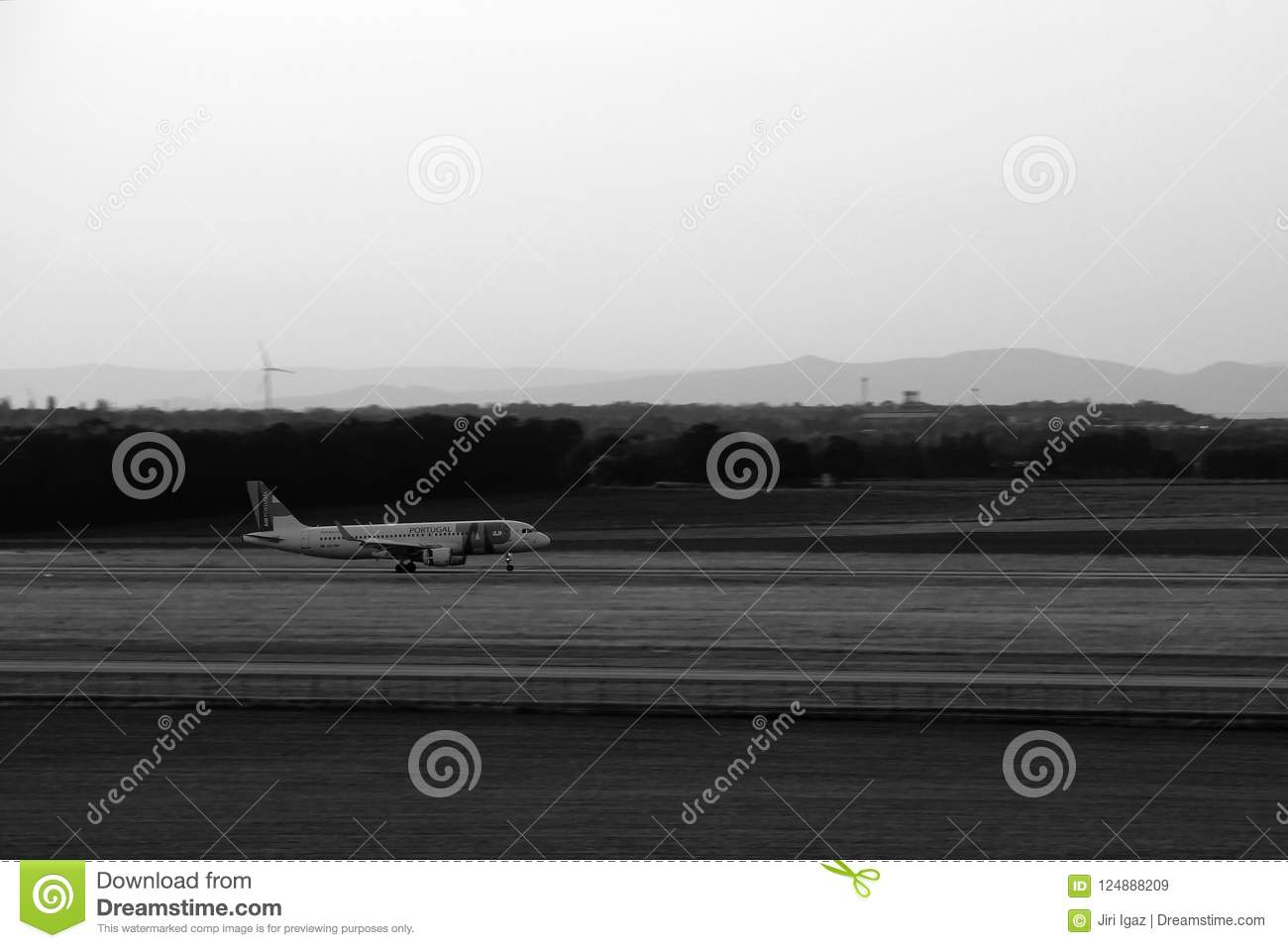 Ruzyne, Czech republic - August 16, 2018: Air Portugal aeroplanes landing at Vaclav Havel airport in Prague during summer holiday