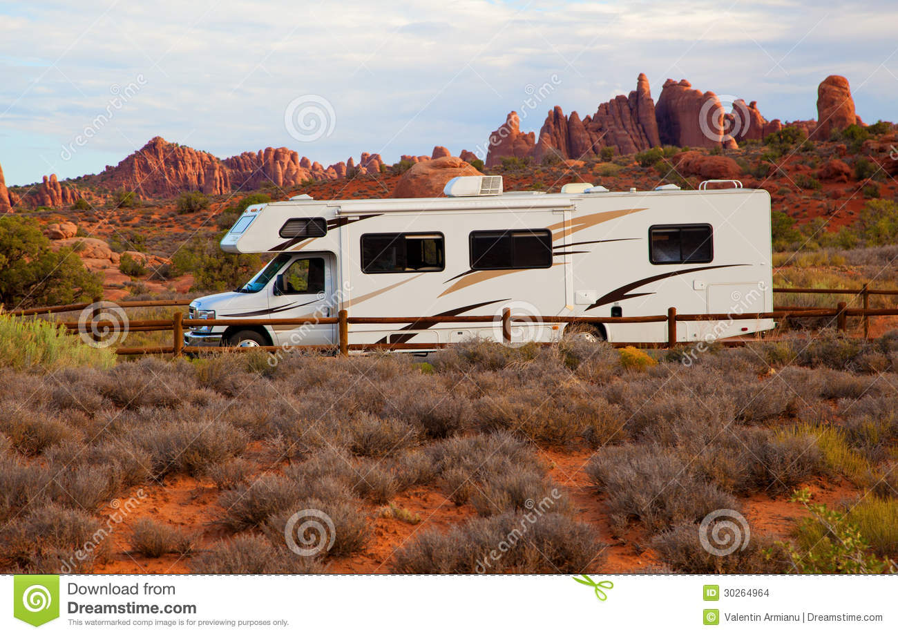 RV against red rock formation