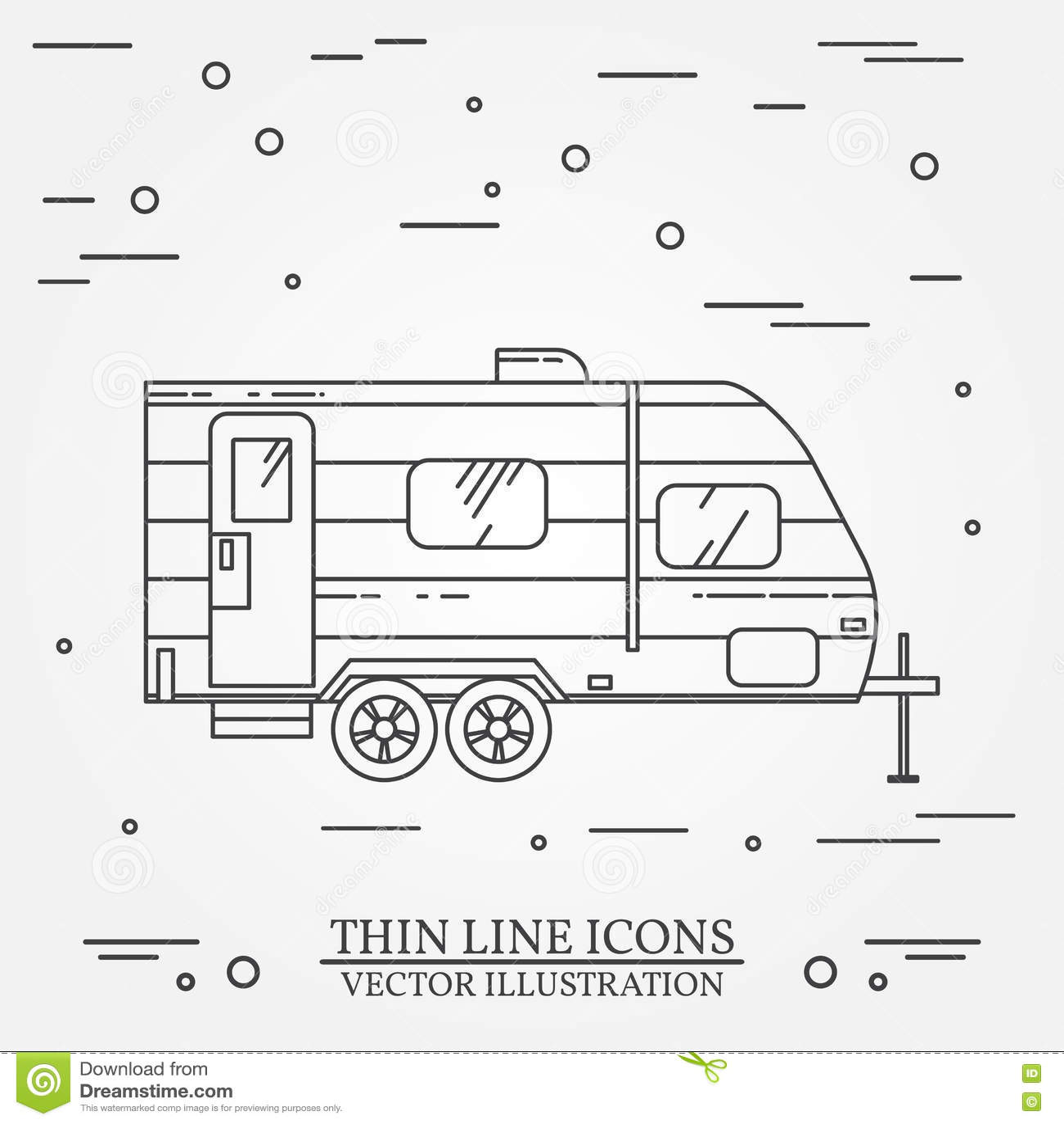RV Camper Trailer Thin Line Camping Caravan Outline Icon Travel