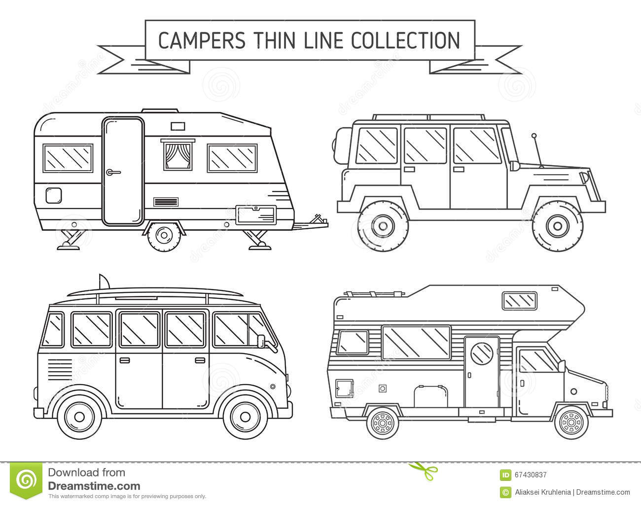rv campers and trailer in thin line art stock vector