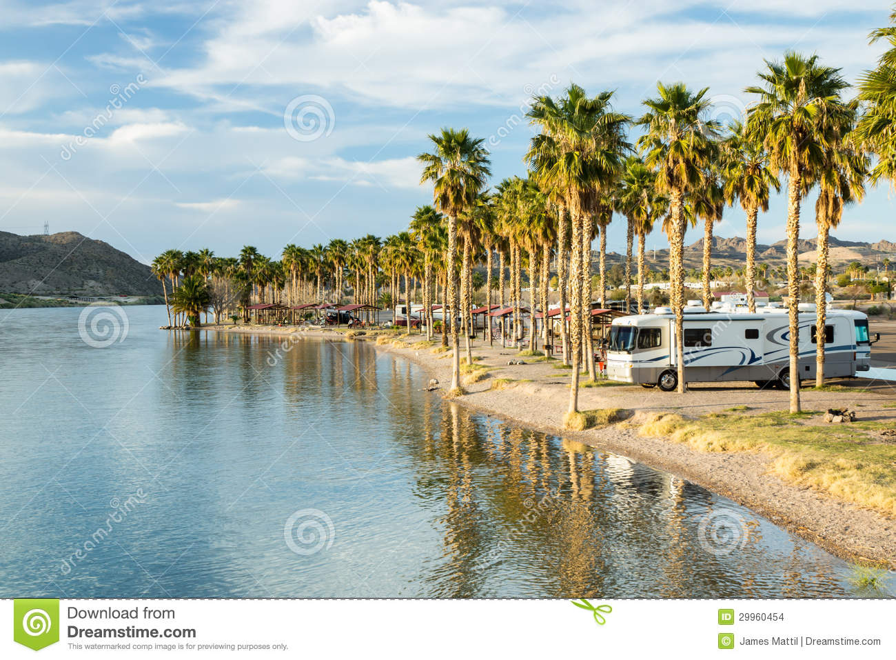 ... River in Laughlin, Nevada, with sunshine and palm trees in winter