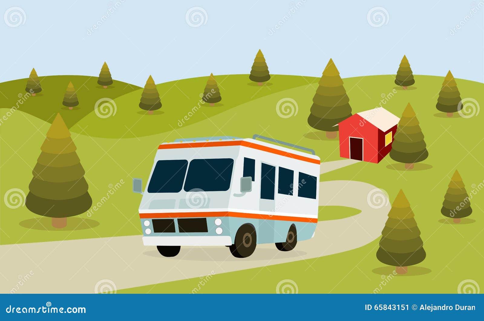 RV Camping stock vector  Illustration of illustration - 65843151