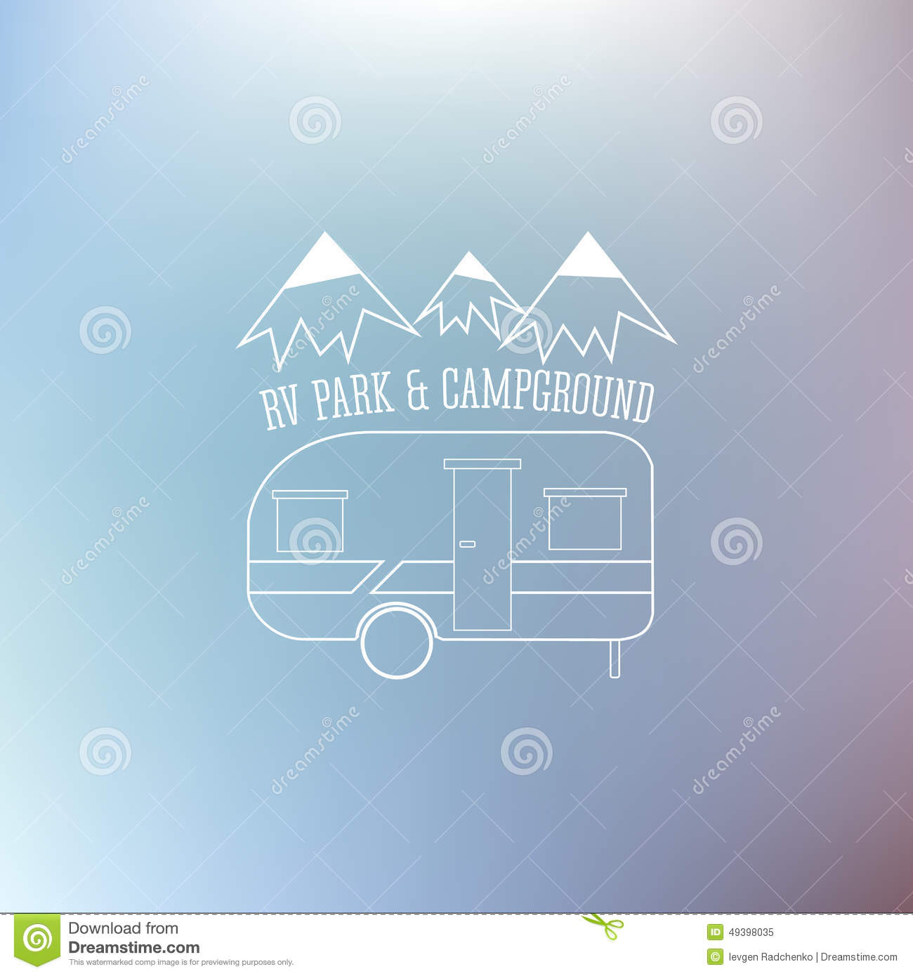 Rv And Caravan Park Template On Nice Blue Background Can