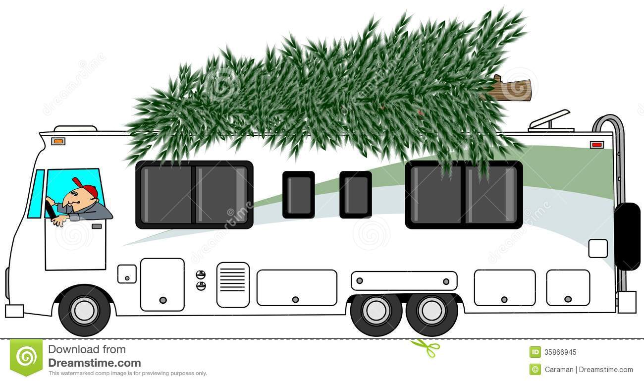 RV Delivering A Christmas Tree Royalty Free Stock Photo - Image ...