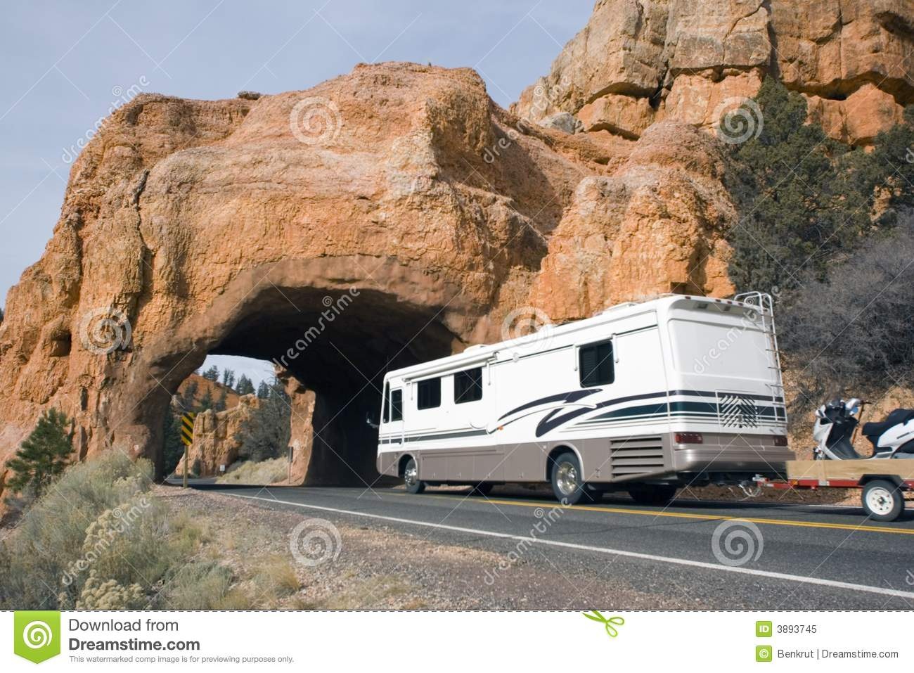 Rv Driving To The Tunnel Stock Image Image Of Street