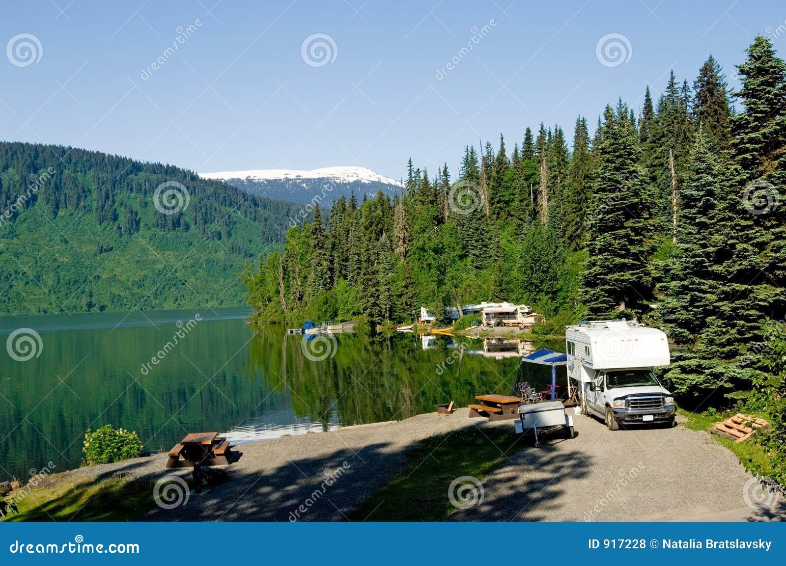 RV park at the lake stock photo. Image of america, swim ...
