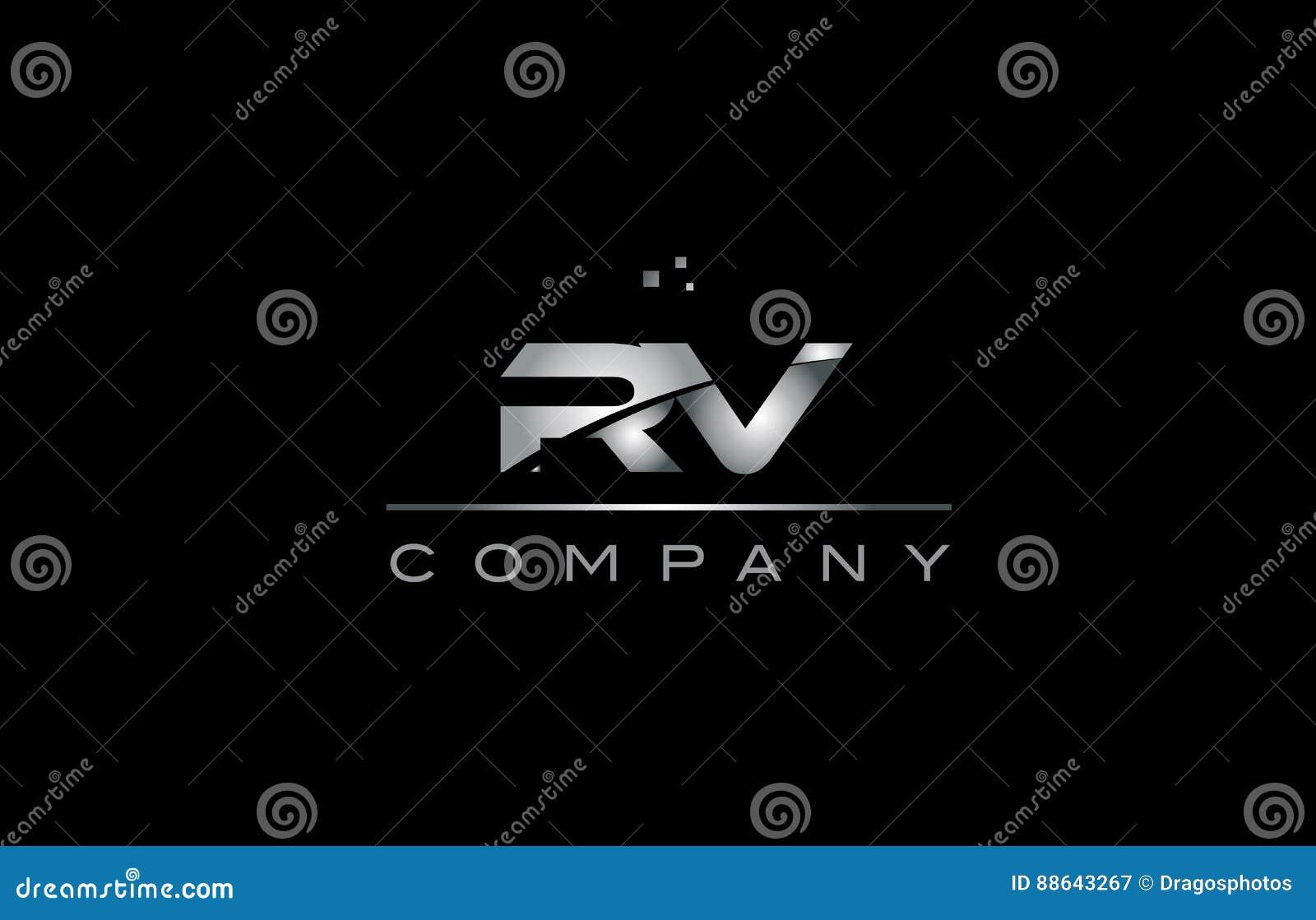 Rv r v het zilveren grijze pictogram van het de brievenembleem van het metaal metaalalfabet
