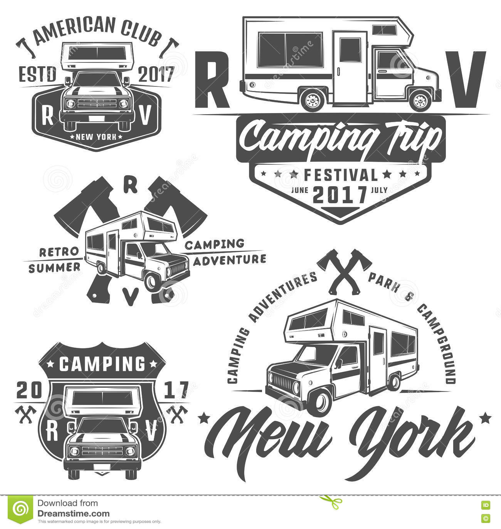Rv samochodów Rekreacyjnych pojazdów obozowicza samochodów dostawczych karawan emblematy, logo, znak, projektów elementy