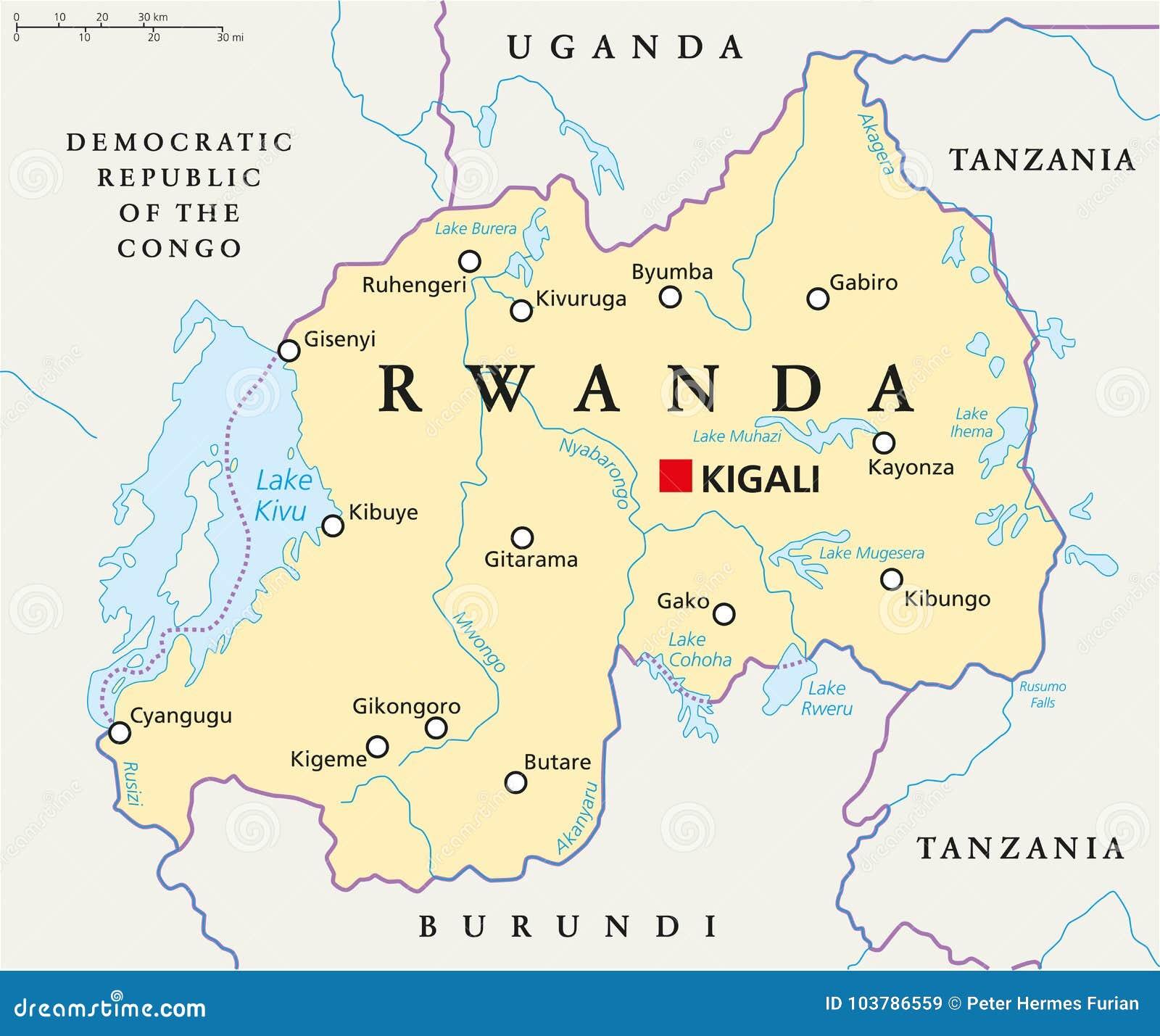 Map Of Rwanda Rwanda Political Map stock vector. Illustration of ihema   103786559