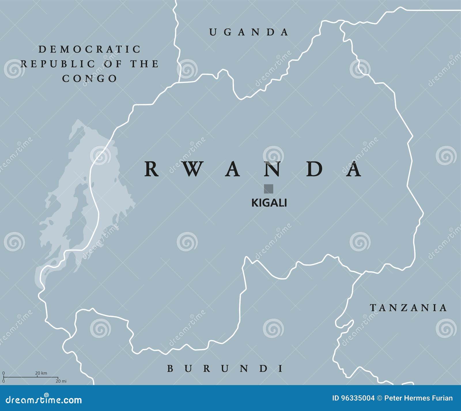 Rwanda political map stock vector. Illustration of democratic - 96335004