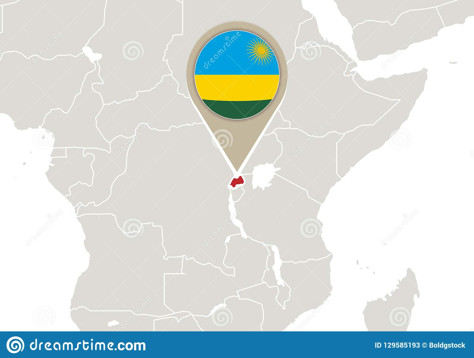 Image of: Rwanda On World Map Stock Vector Illustration Of International 129585193