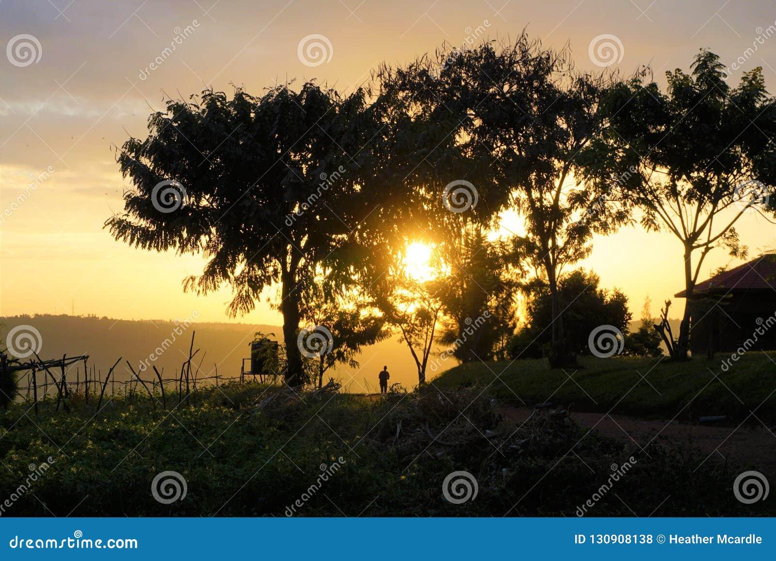 Rwandisk man som går in i solnedgången