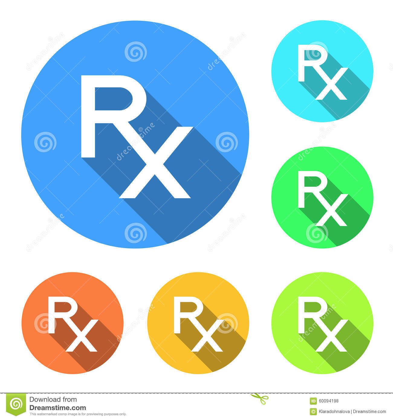 Rx Icons Rx Signs In Different Colors On White Background Rx