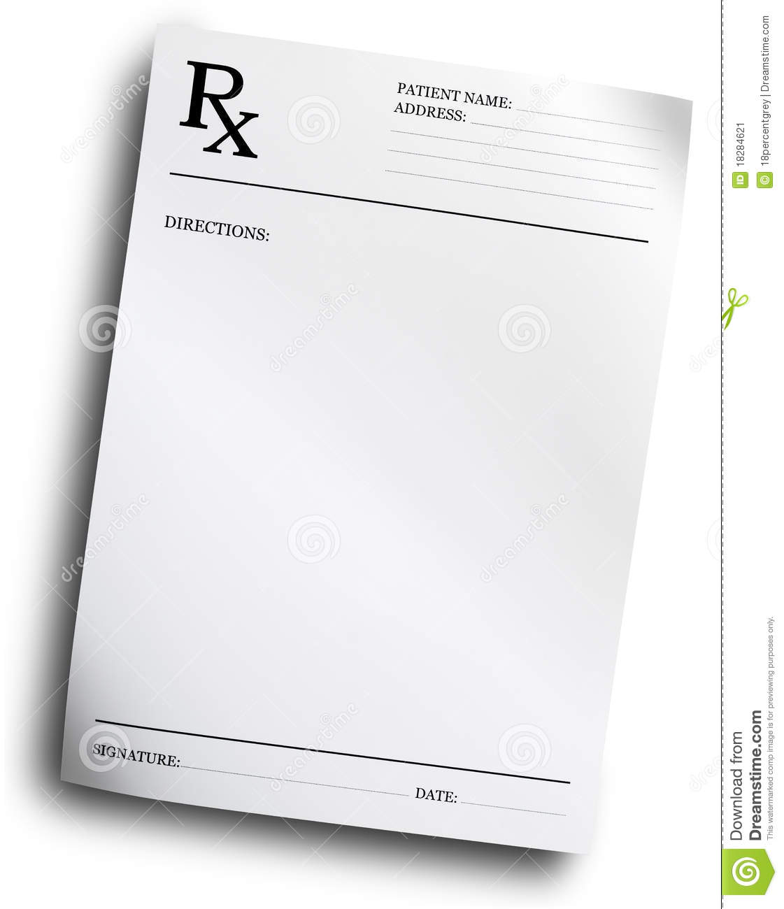 RX Prescription Form Stock Image - Image: 18284621