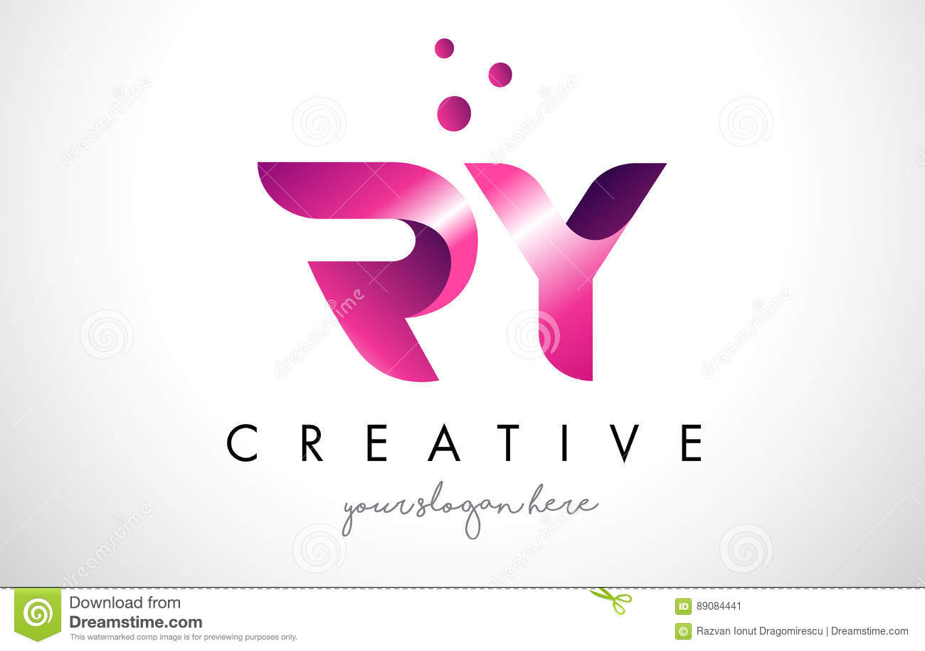 RY Letter Logo Design With Purple Colors And Dots Stock Vector ...