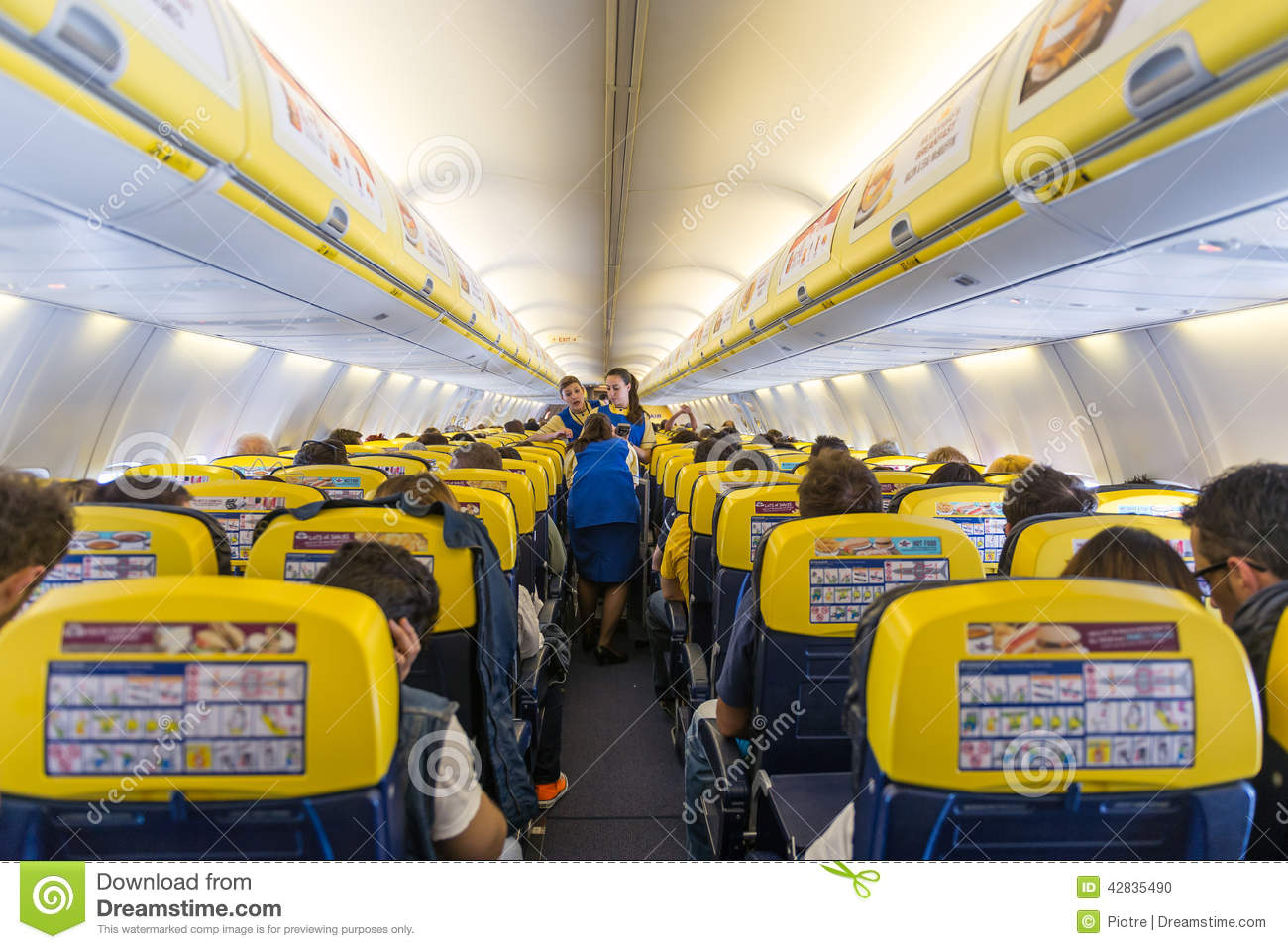 ryanair jet airplanes interior view editorial image