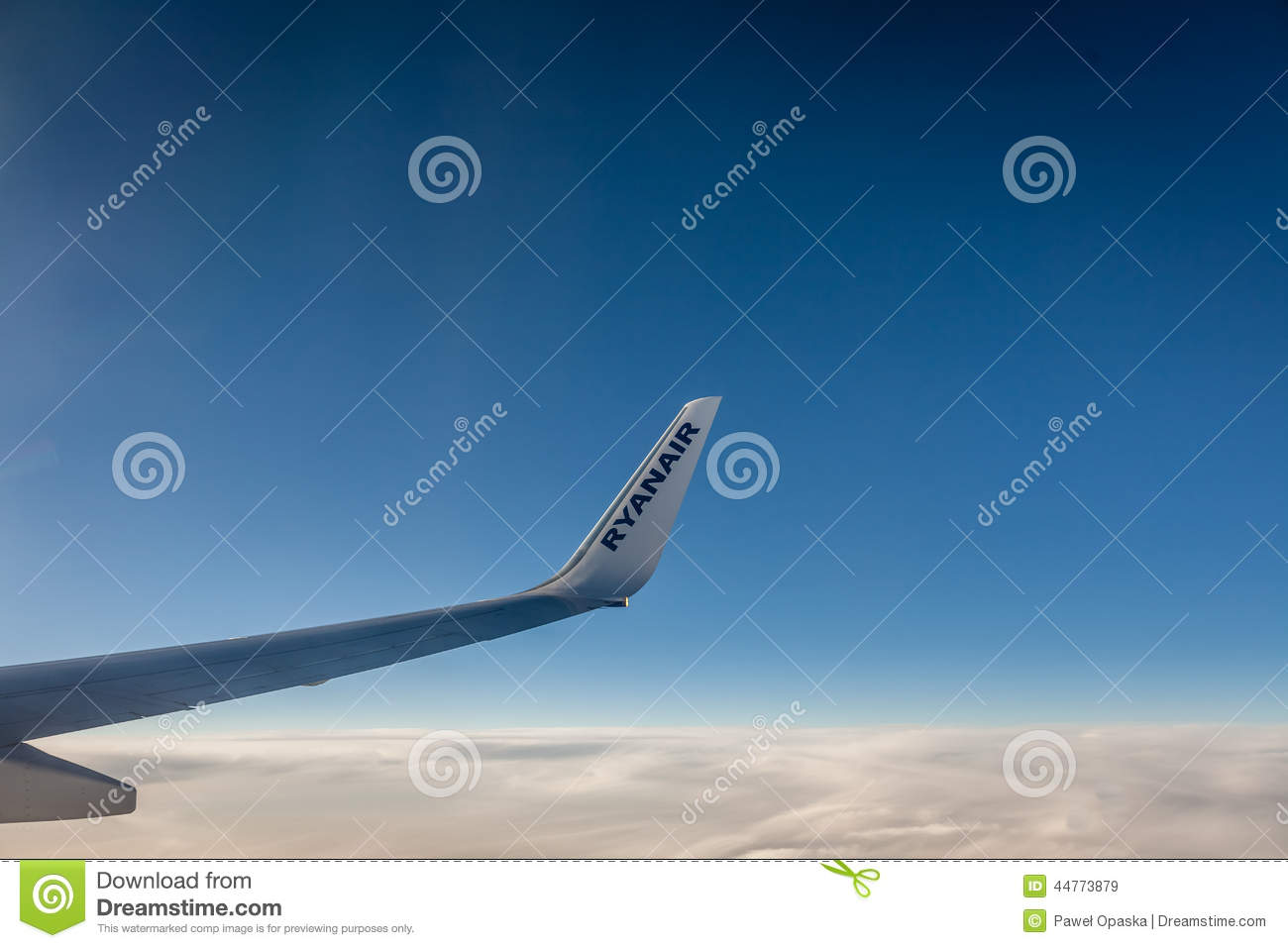 Download Ryanair wing editorial stock image. Image of blue, over - 44773879