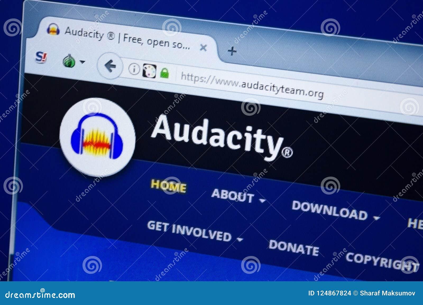 Ryazan, Ρωσία - 26 Αυγούστου 2018: Αρχική σελίδα του ιστοχώρου Audacityteam στην επίδειξη του PC Url - Audacityteam org