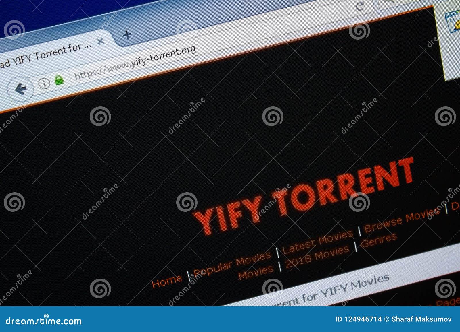 Ryazan, Ρωσία - 26 Αυγούστου 2018: Αρχική σελίδα του ιστοχώρου YIFY-χείμαρρων στην επίδειξη του PC Url - YIFY-χείμαρρος org