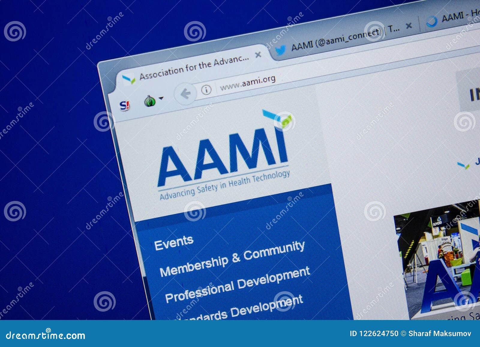 Ryazan, Ρωσία - 11 Ιουλίου 2018: Aami org ιστοχώρος στην επίδειξη του PC