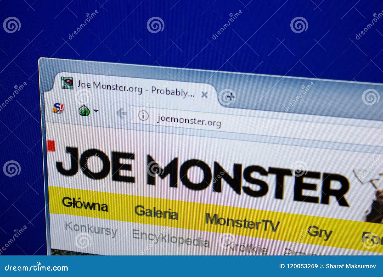 Ryazan, Ρωσία - 26 Ιουνίου 2018: Αρχική σελίδα του ιστοχώρου JoeMonster στην επίδειξη του PC URL - JoeMonster org
