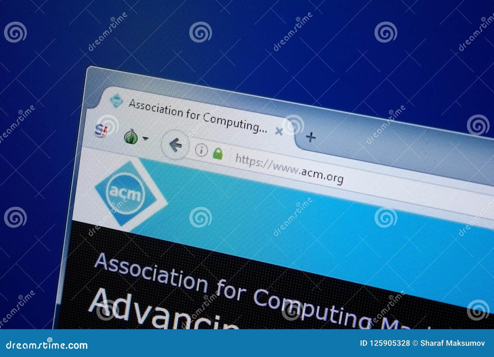 Ryazan, Ρωσία - 9 Σεπτεμβρίου 2018: Αρχική σελίδα του ιστοχώρου Acm στην επίδειξη του PC, url - Acm org