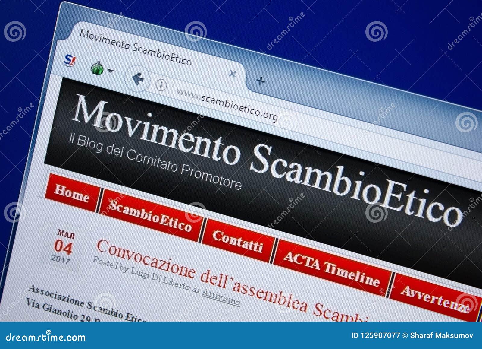 Ryazan, Ρωσία - 9 Σεπτεμβρίου 2018: Αρχική σελίδα του ιστοχώρου Scambio Etico στην επίδειξη του PC, url - ScambioEtico org