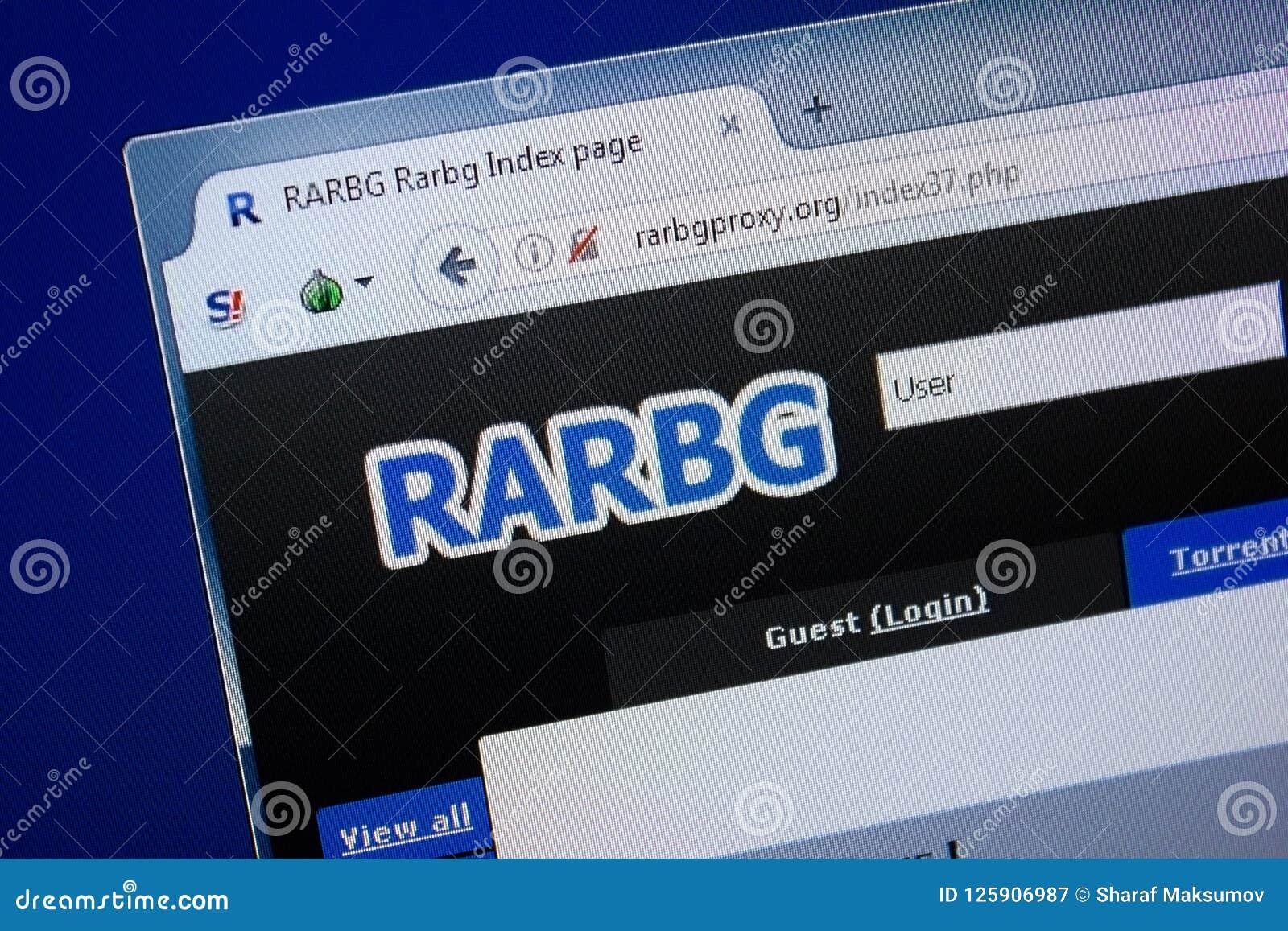 Ryazan, Ρωσία - 9 Σεπτεμβρίου 2018: Αρχική σελίδα Rar BG Proxu του ιστοχώρου στην επίδειξη του PC, url - RarBgProxu org