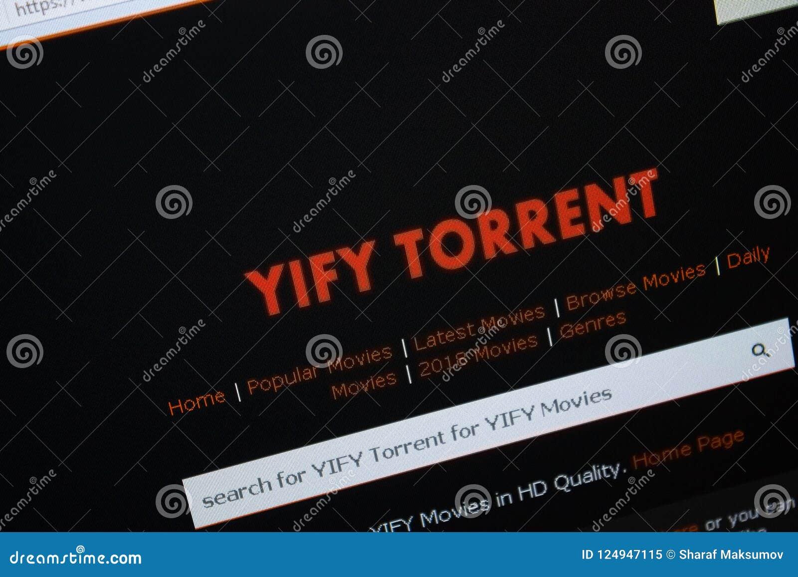 Ryazan, Rússia - 26 de agosto de 2018: Homepage do Web site da YIFY-torrente na exposição do PC URL - YIFY-torrente org