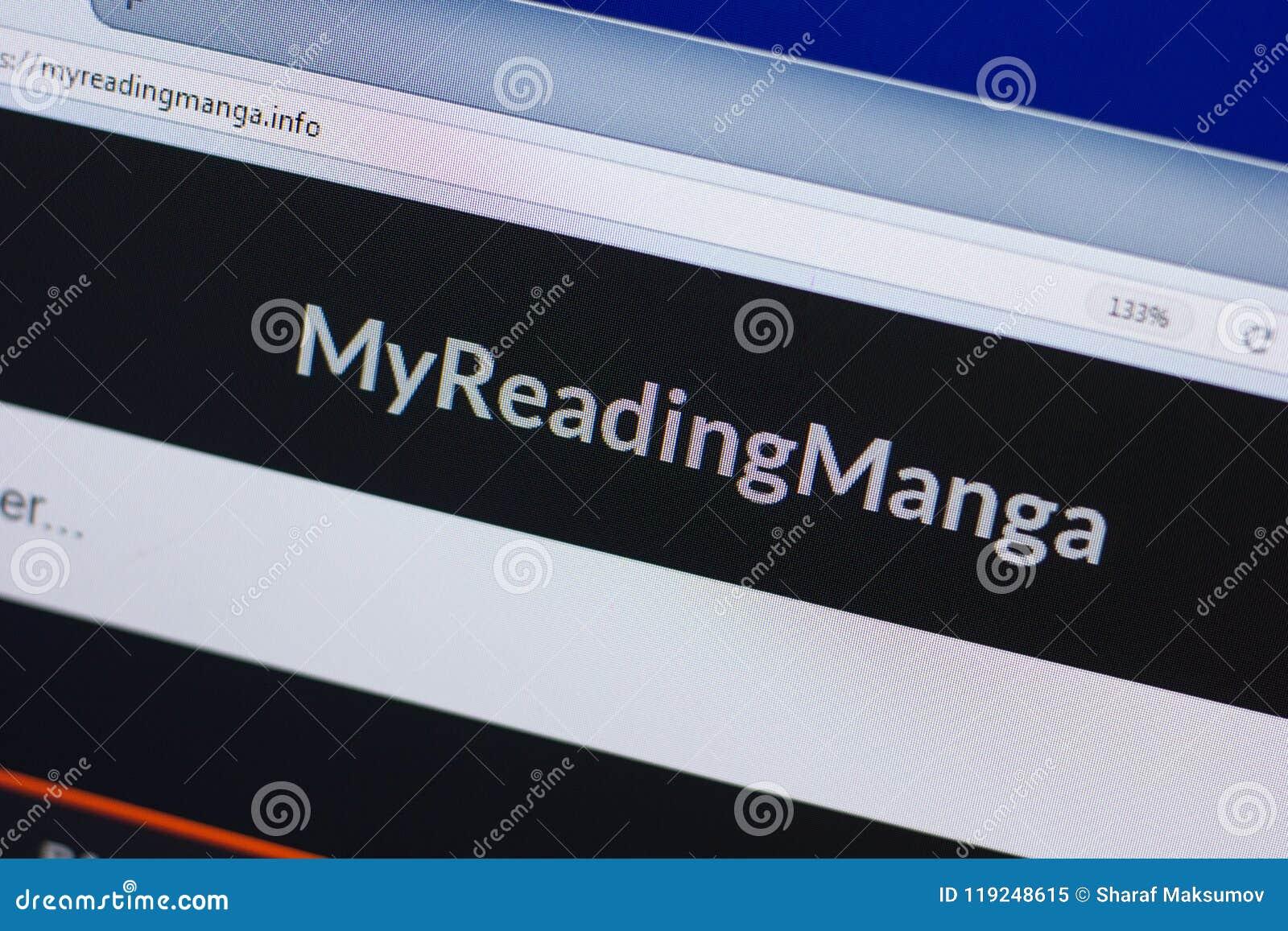 Ryazan, Rússia - 16 de junho de 2018: Homepage do Web site de MyReadingManga na exposição do PC, URL - MyReadingManga info