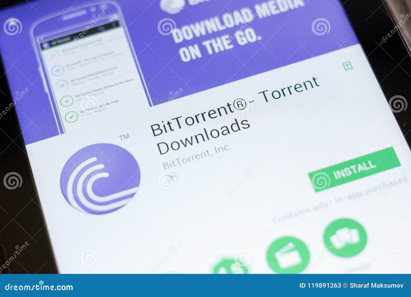 Ryazan Rosja, Czerwiec, - 24, 2018: BitTorrent, kawałka potok ściąga wiszącą ozdobę app na pokazie pastylka pecet