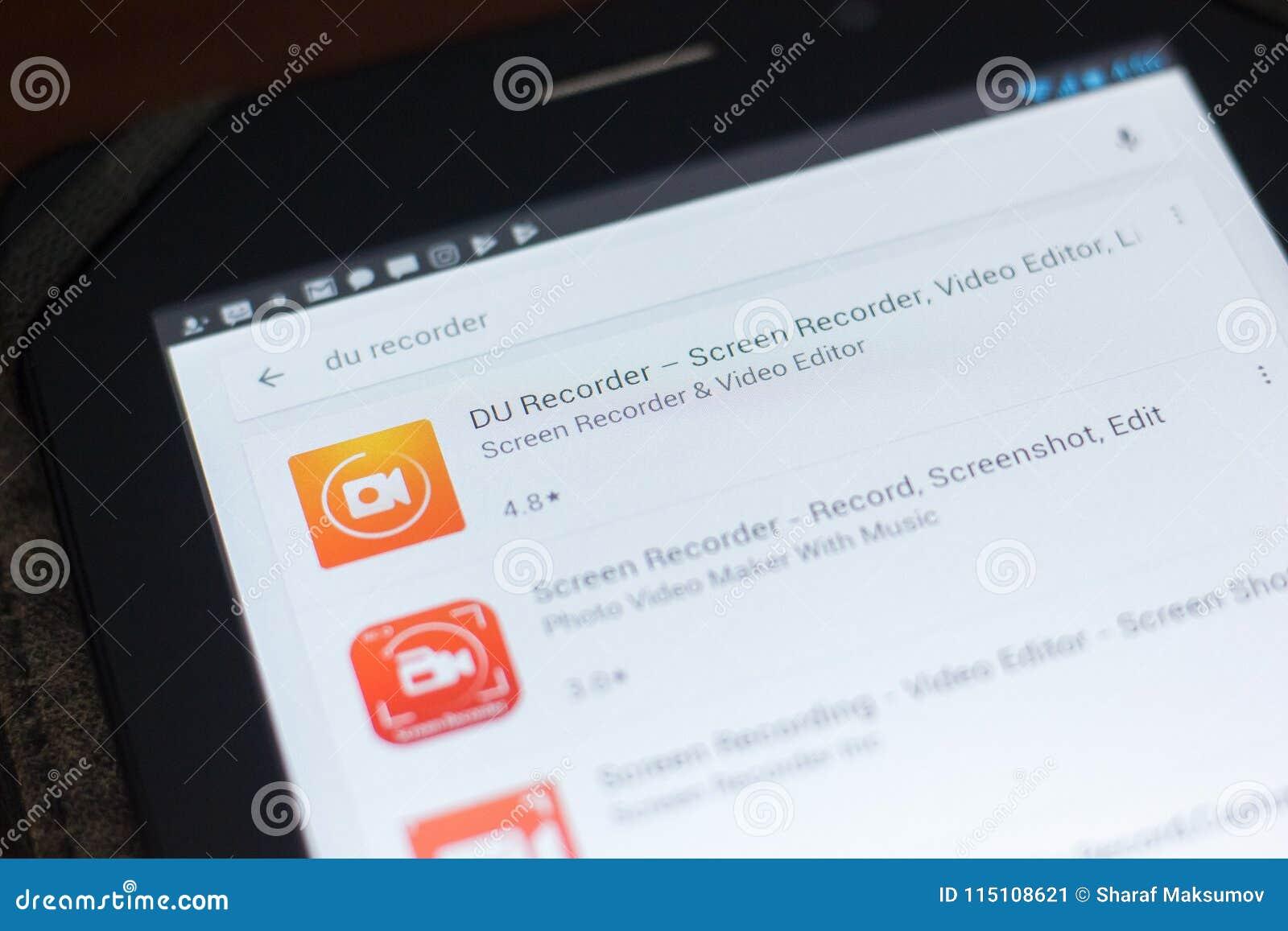 Ryazan, Rusland - April 19, 2018 - DU Screen Recorder pictogram op de lijst van mobiele apps