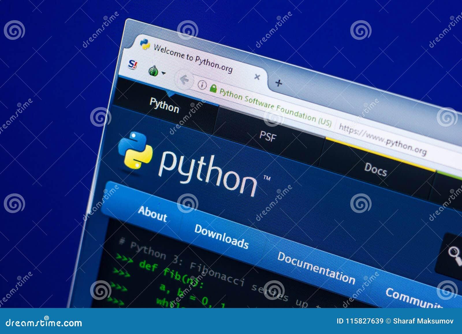Ryazan, Rusland - April 29, 2018: Homepage van Pythonwebsite op de vertoning van PC, url - Python org