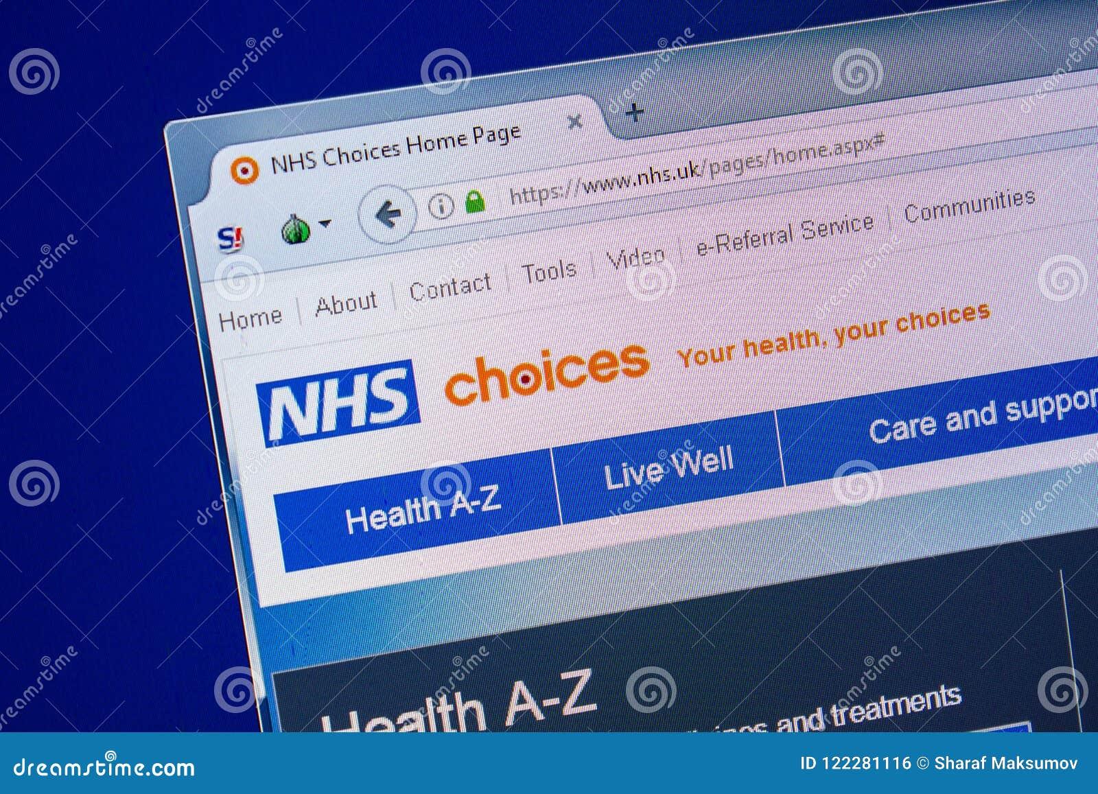 Ryazan, Rusland - Juli 24, 2018: Homepage van NHS-website op de vertoning van PC Url - NHS het UK