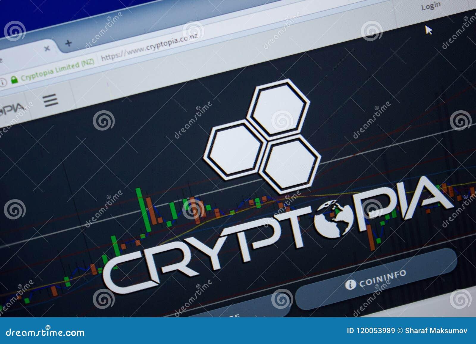 Ryazan, Rusland - Juni 26, 2018: Homepage van Cryptopia-website op de vertoning van PC URL - Cryptopia Co NZ