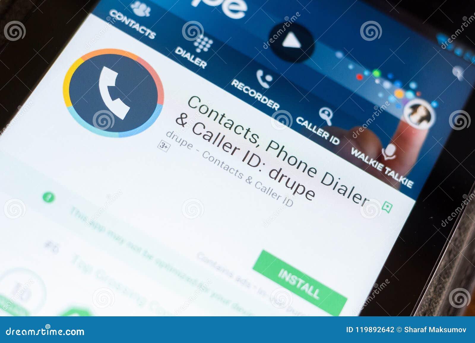 Ryazan, Rusland - Juni 24, 2018: Steenvruchtencontacten, telefoon Dialer en Bezoekersidentiteitskaart mobiele app op de vertoning