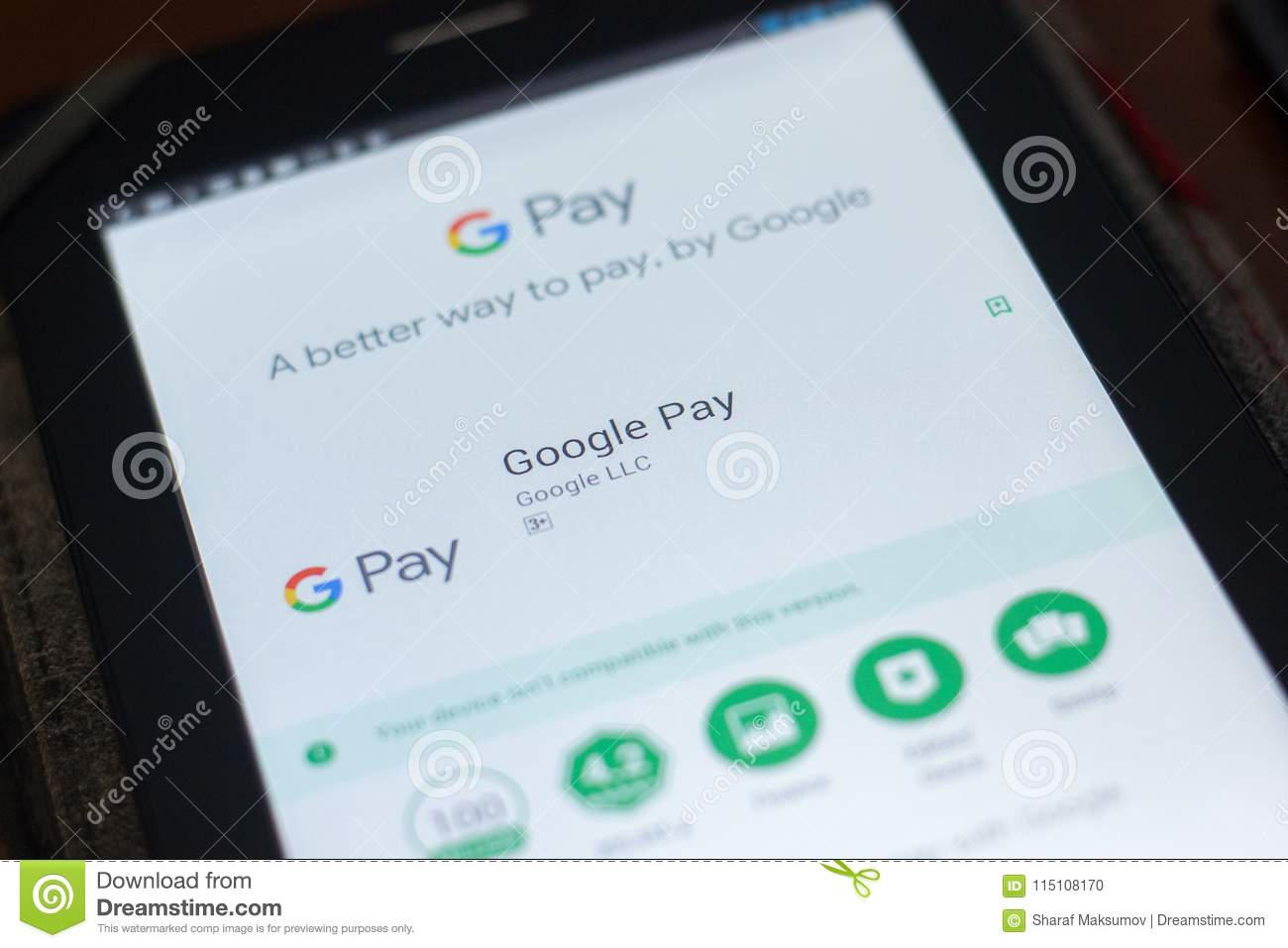 Ryazan, Russia - April 19, 2018 - Google Pay Mobile App On The