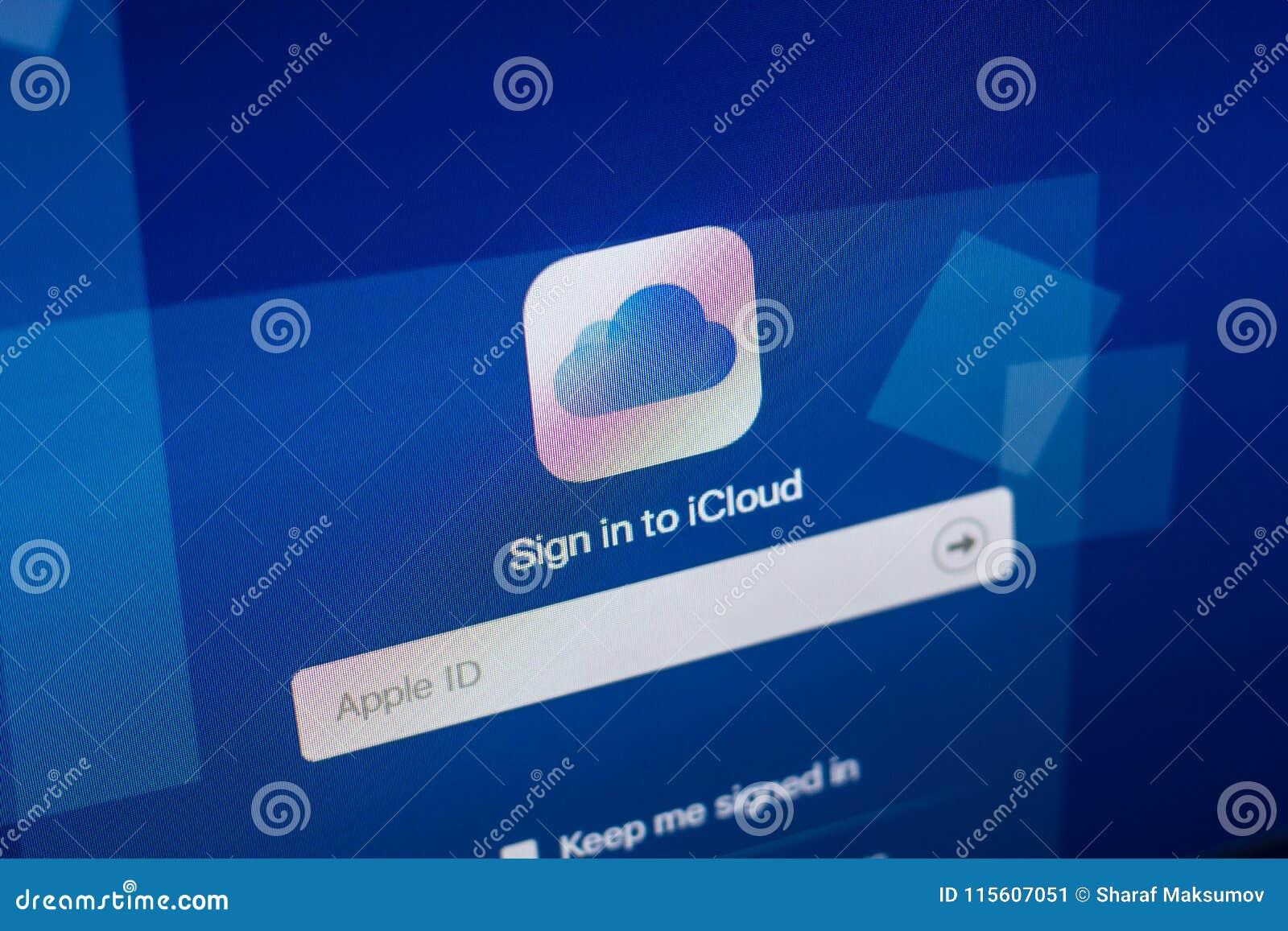 Ryazan, Russia - April 29, 2018: Homepage of iCloud website on the display of PC, url - iCloud.com.