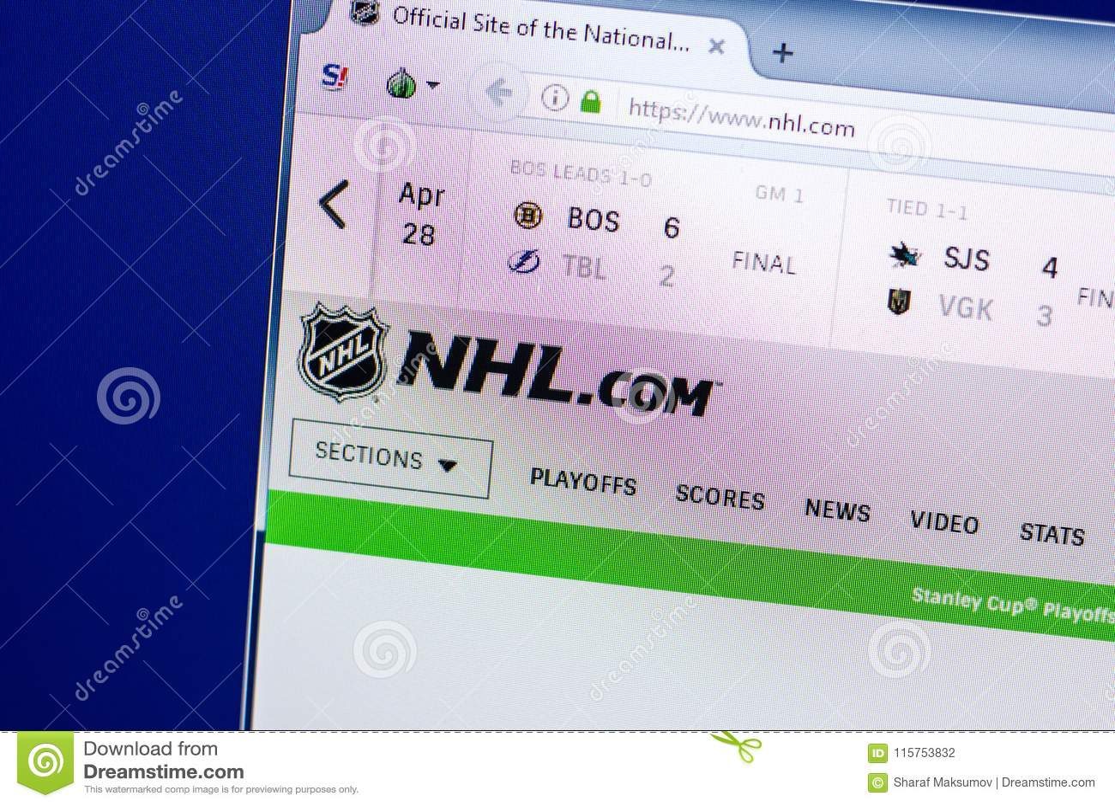 Ryazan Russia April 29 2018 Homepage Of National Hockey League