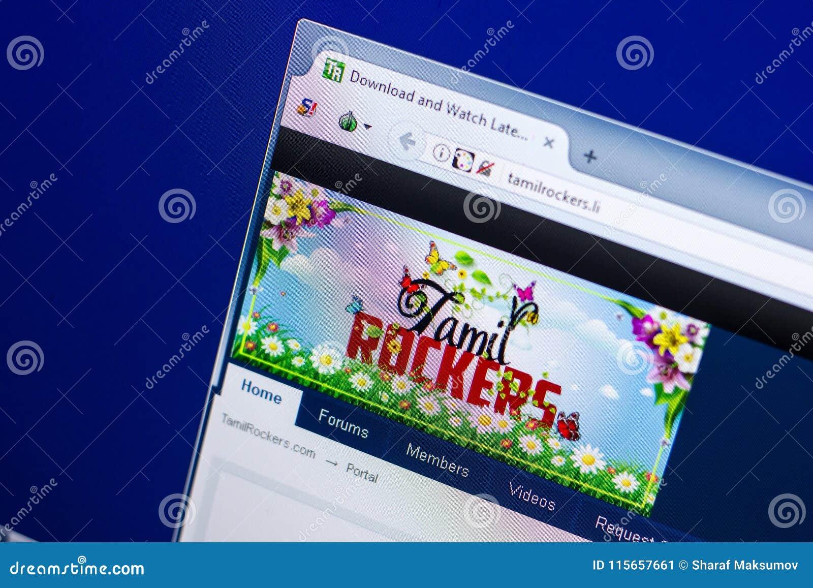 Ryazan, Russia - April 29, 2018: Homepage Of TamilRockers Website On