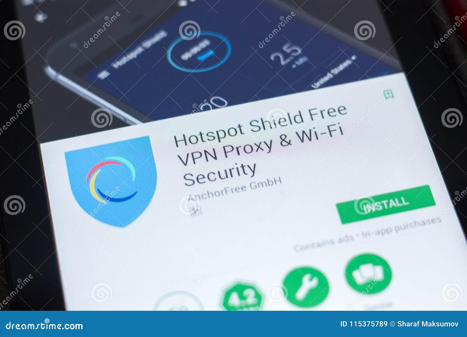 Ryazan, Russia - April 19, 2018 - Hotspot Shiels Free VPN