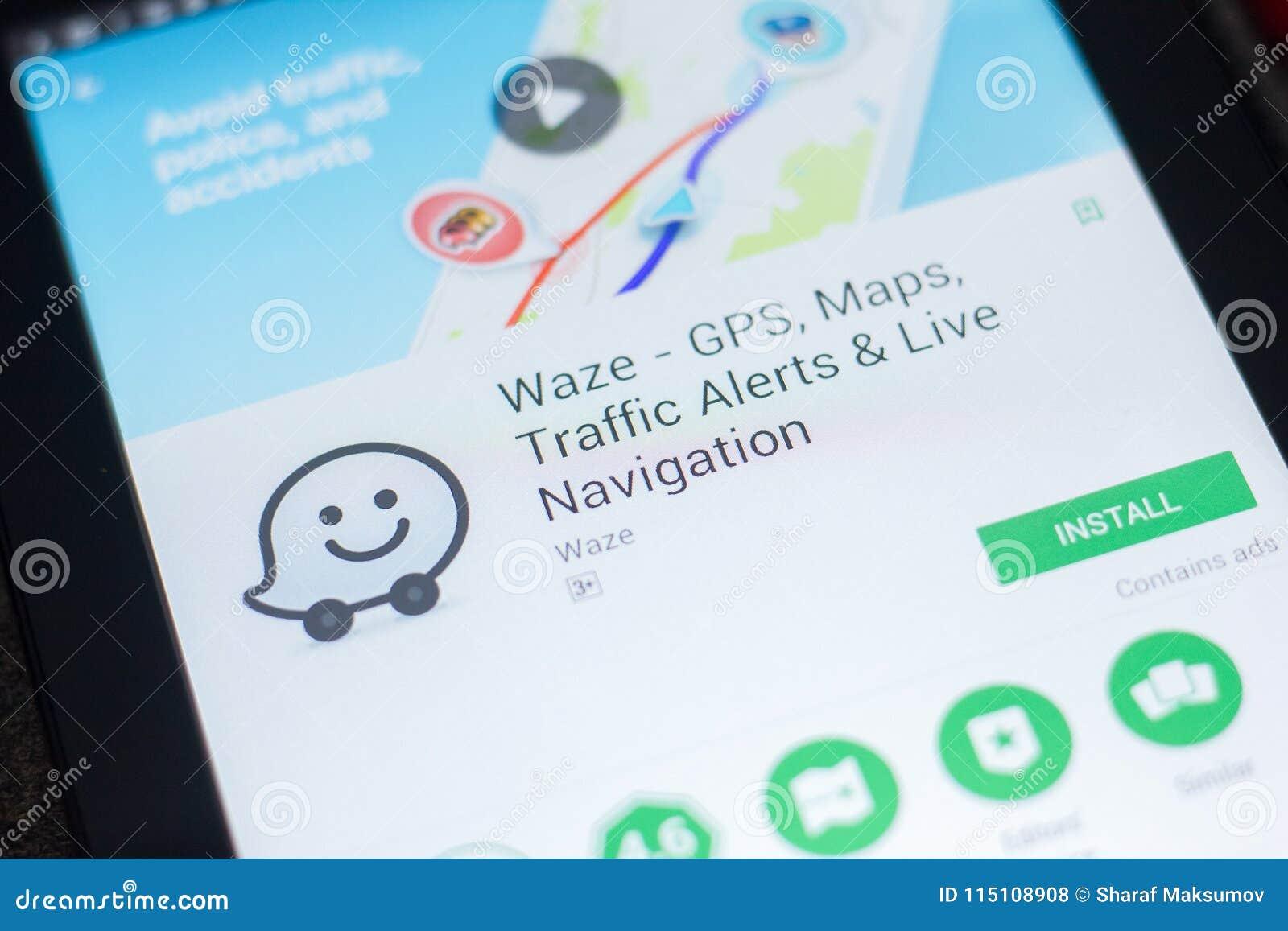 Ryazan, Russia - April 19, 2018 - Waze Mobile App On The