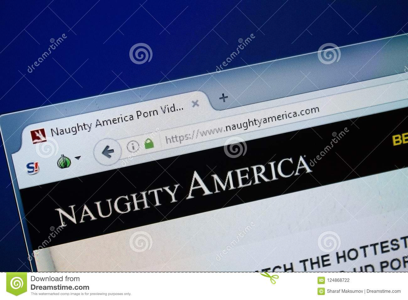 Ryazan Russia August 26 2018 Homepage Of Naughty America Website On The Display Of Pc Url Naughtyamerica Com