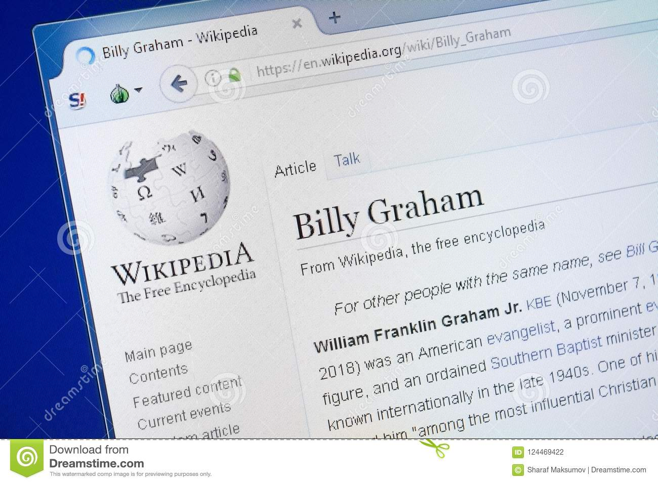 Ryazan, Russia - August 19, 2018: Wikipedia Page About Billy