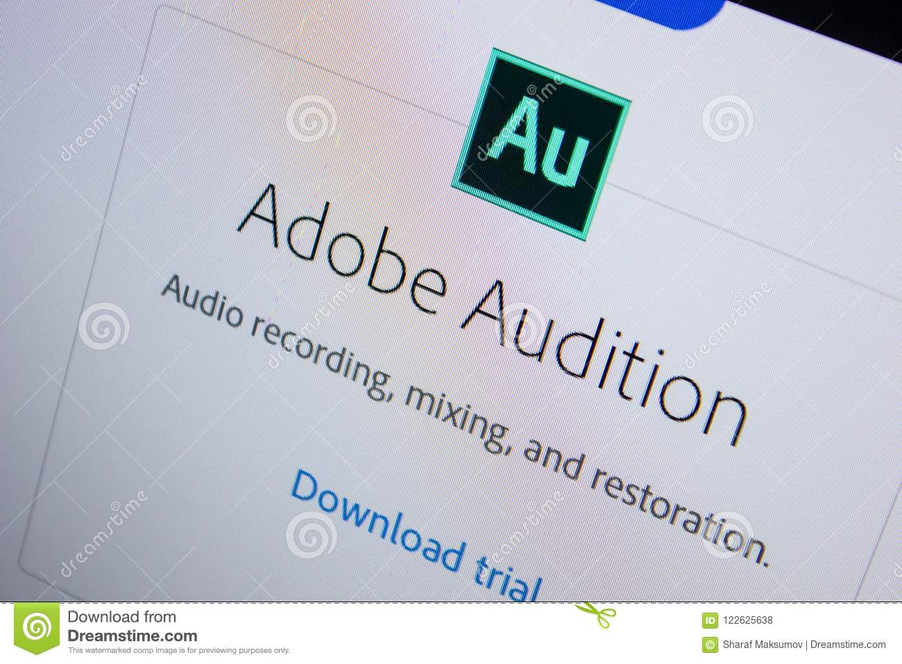 Ryazan Russia July 11 2018 Adobe Audition Software Logo On The