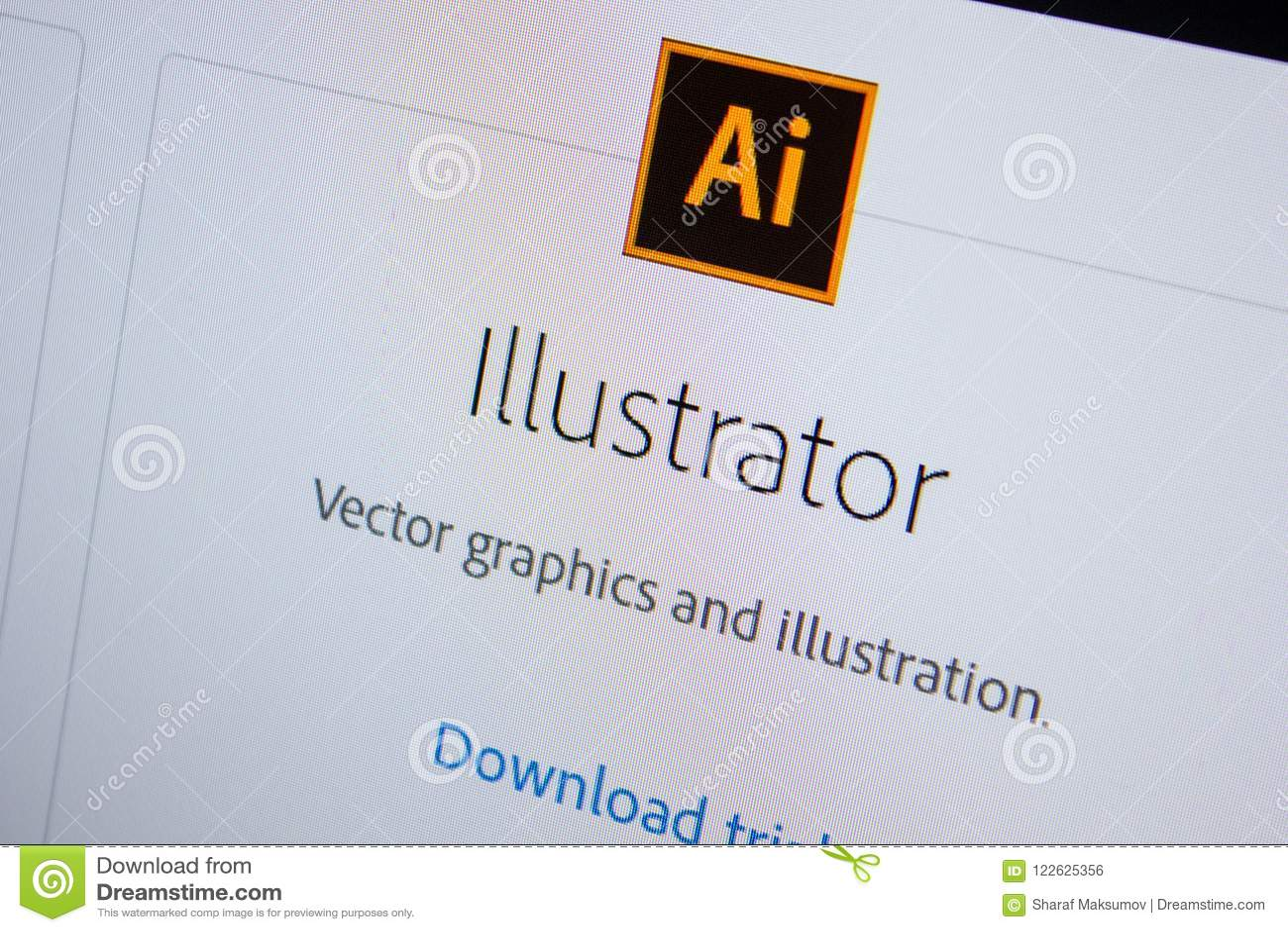 Ryazan, Russia - July 11, 2018: Adobe Illustrator, Software